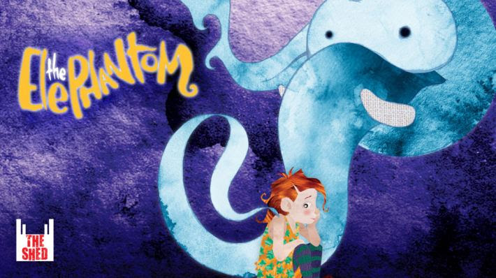 The Elephantom. Cartoon of a young girl 'daydreaming' the Elephantom