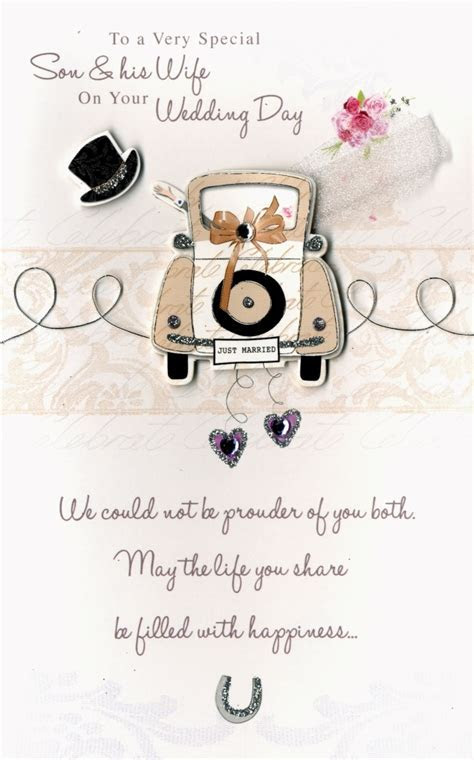 Son & Wife Embellished Wedding Greeting Card   Cards