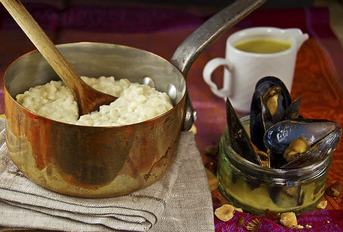 Creamy kefir lime-bay risotto with saffron mussels