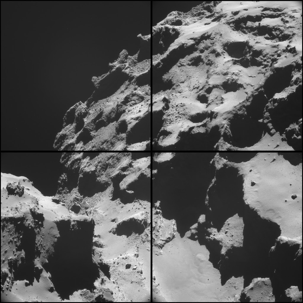 Four image NAVCAM montage comprising images taken on 20 October 2014. Credits: ESA/Rosetta/NAVCAM