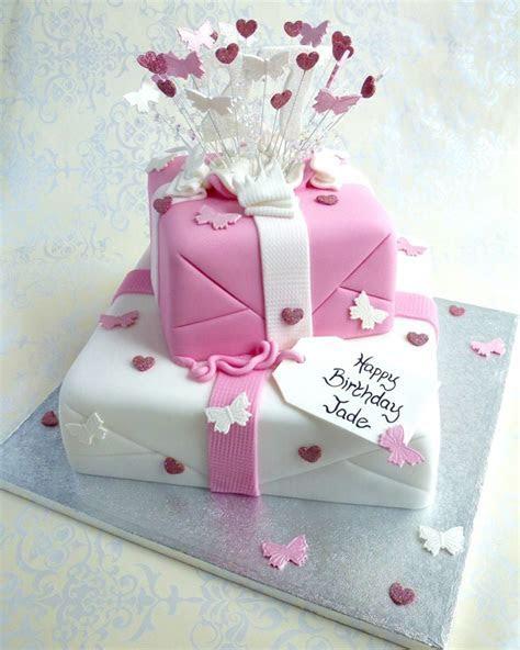 2 tier Exploding Parcel Butterflies and Hearts   Karen's Cakes