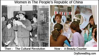 Cultural Revolution and a modern Beauty Counter in a Chinese Shopping Mall