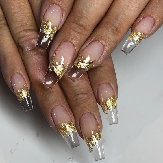 Clear Acrylic Nails With Gold Flakes - Nail and Manicure ...