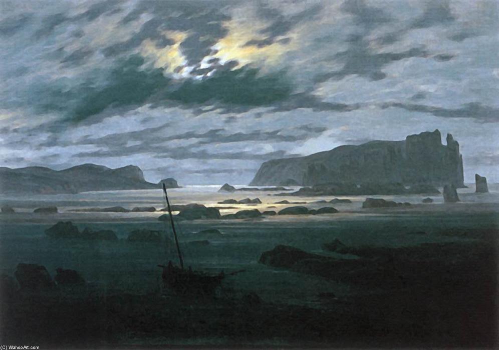 El Mar del Norte en Moonlight (3), óleo sobre lienzo de Caspar David Friedrich (1774-1840, Germany)