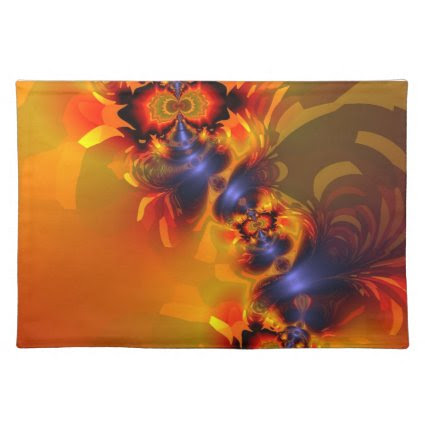 Orange Eyes Aglow – Gold & Violet Delight Place Mat