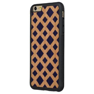 Navy Diamonds on White Carved® Cherry iPhone 6 Plus Bumper