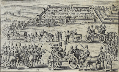 Spaniards and Peruvians in 15th century parade