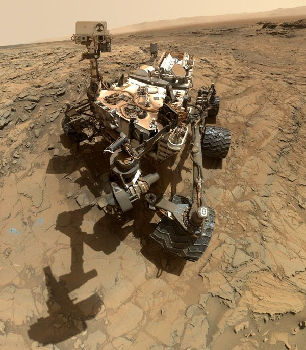 A self-portrait of NASA's Curiosity Mars rover, taken with a camera on her robotic arm on October 6, 2015.