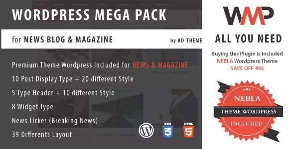 WP Mega Pack for News, Blog and Magazine v1.0