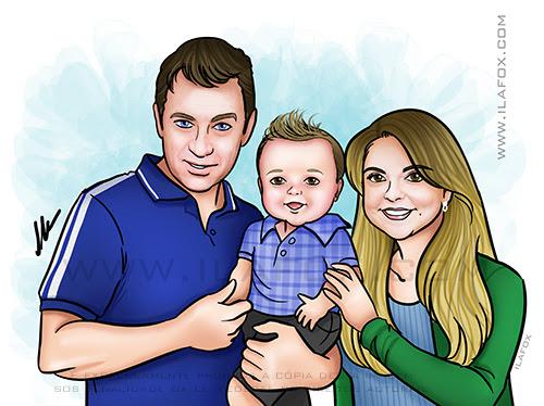 retrato família, retrato casal com bebê, retrato personalizado, retrato para presente, retrato digital, by ila fox