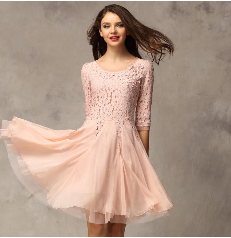 Long sleeve knee length evening dresses