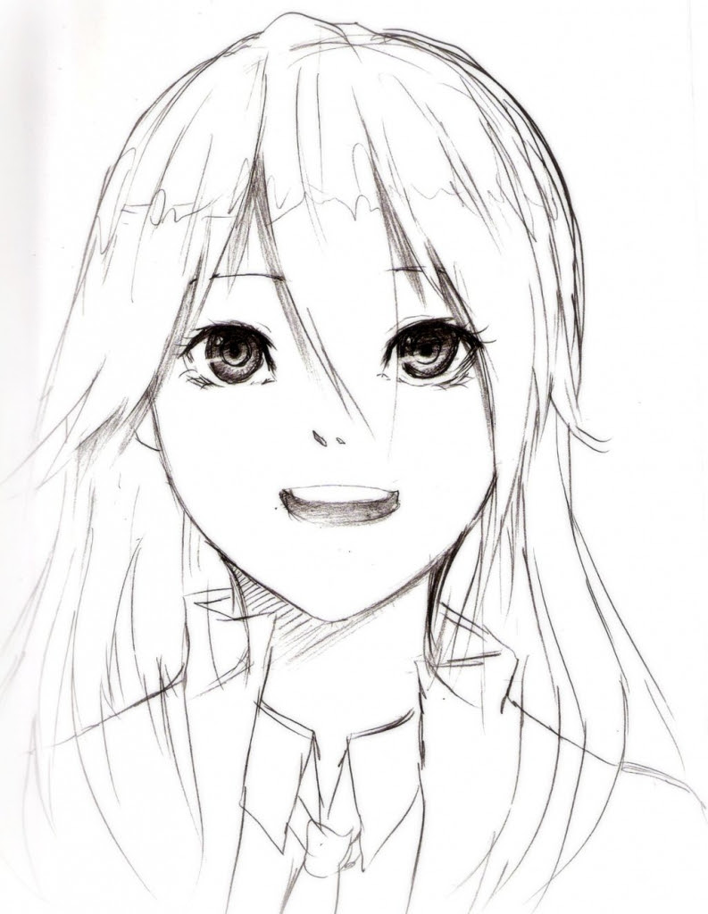 793x1024 Cute Anime To Draw Draw Girl Face And Hair In Cute Style How To
