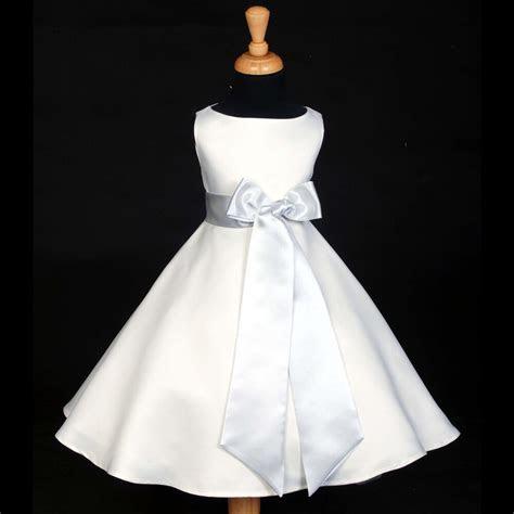 white    length wedding flower girl dress