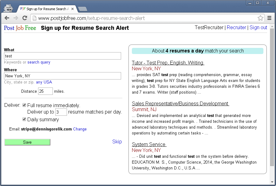 post job free sign up for resume search alert