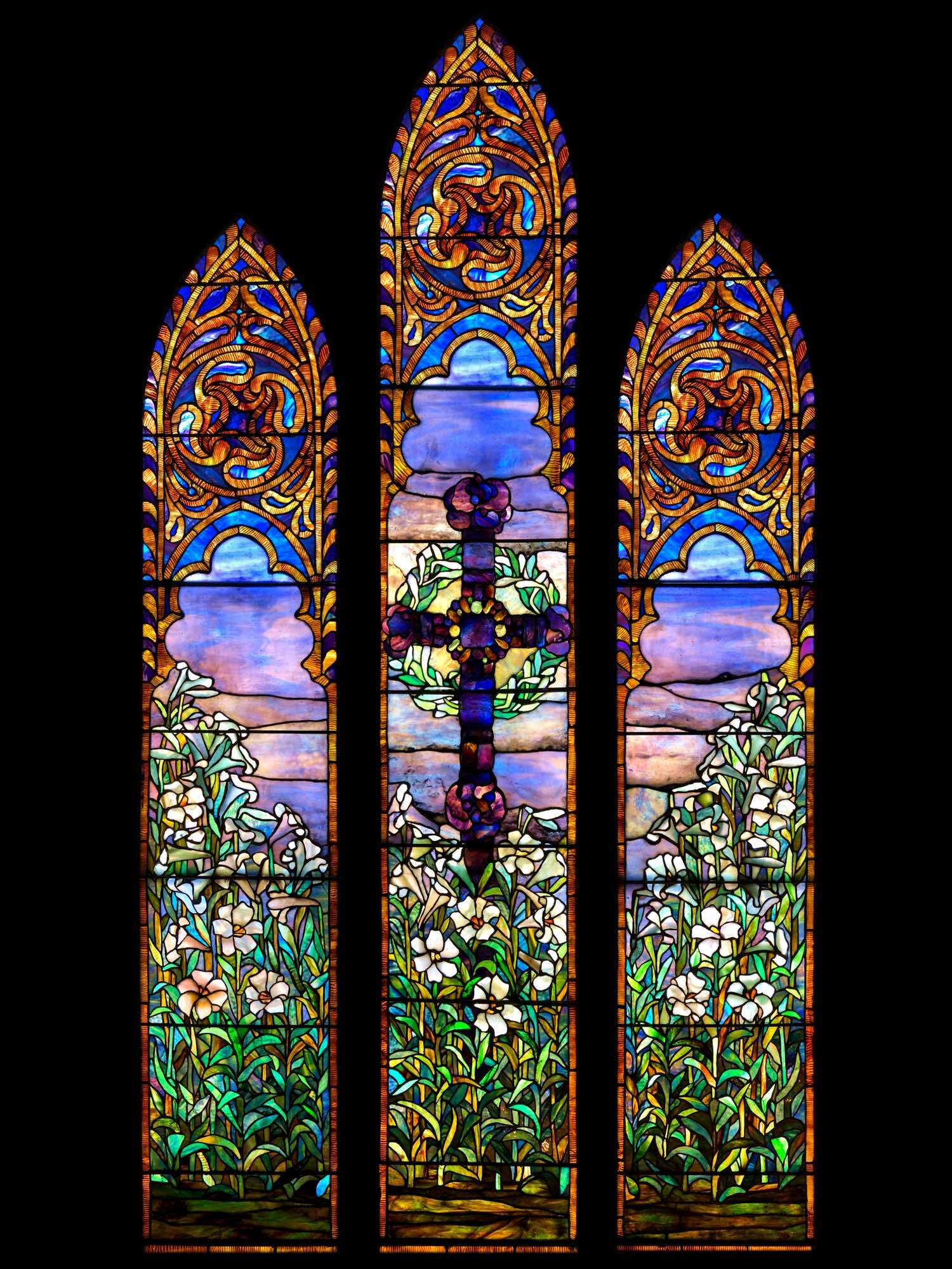 Jeweled Cross And Lilies Louis Comfort Tiffany Antique Church Stained Glass Window Buy Sell Restore Stained Glass Church Windows Architecture