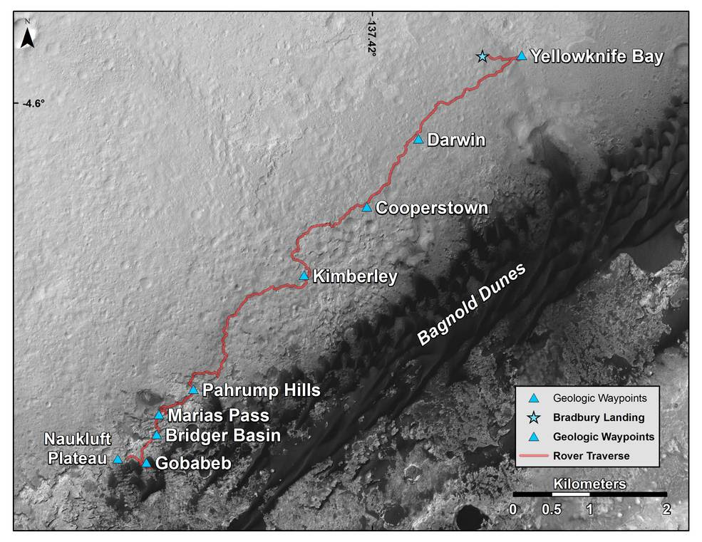 This map shows the route driven by NASA's Curiosity Mars rover