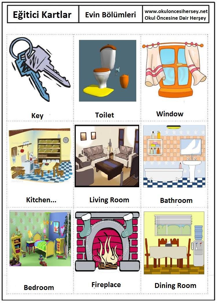 Evin Bölümleri Eğitici Kartlar