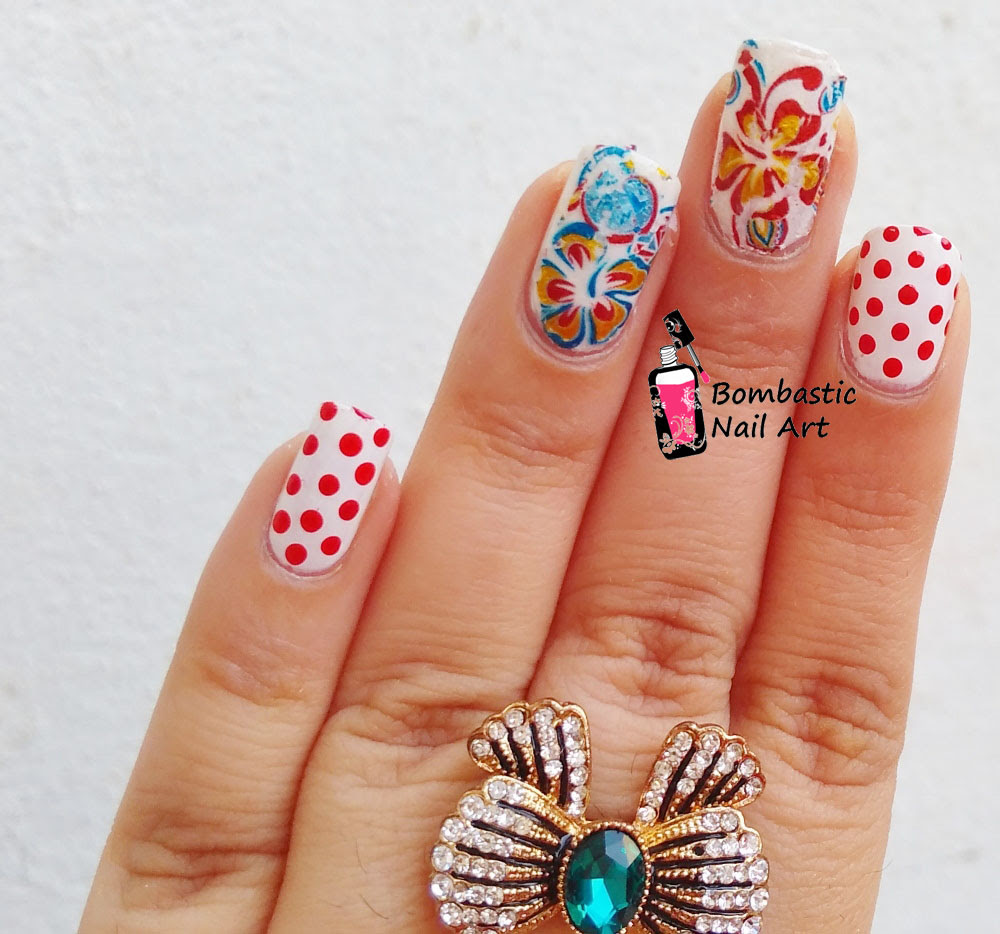 Flower Nail Art with Transfer Foils and Polka Dots ...