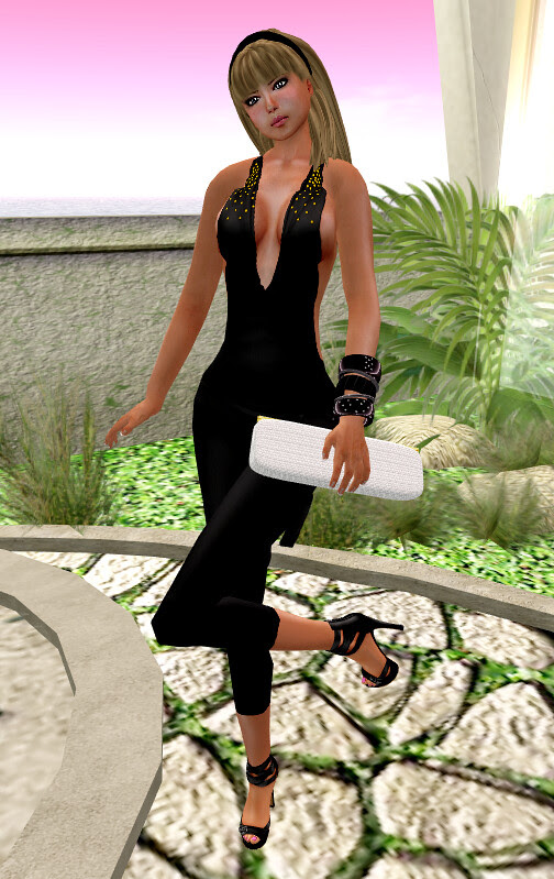 ::HH:: Hucci Gold Rain Jumpsuit - Black & Hucci Shana Clutch - white