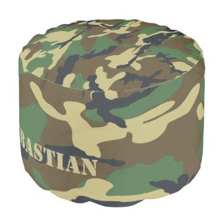 Personalized Green Camouflaged Round Pouf