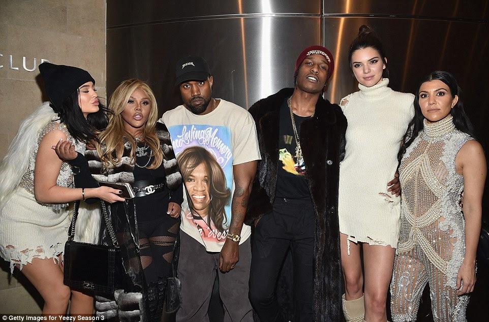 Fashion week: Kylie, Lil Kim, Kanye, A$AP Rocky, Kendall and Kourtney congratulated Kanye after the show