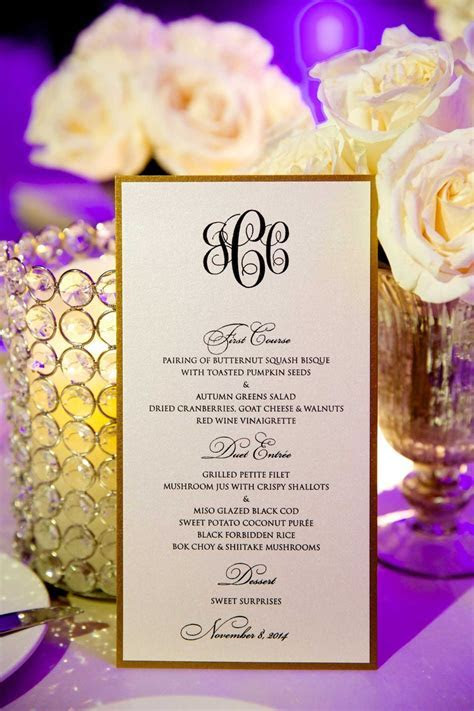 Invitations & More Photos   Black & White Menu Card with