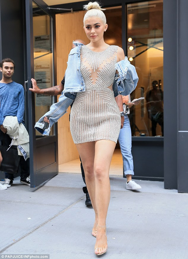 Dazzling: Kylie Jenner turned heads on Thursday on a shopping trip during New York Fashion Week