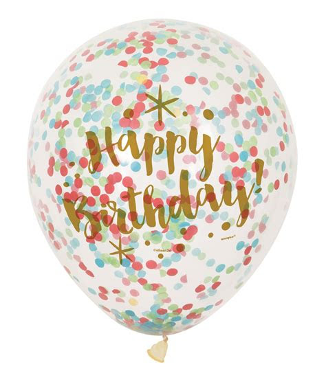 clear confetti filled balloons birthday party