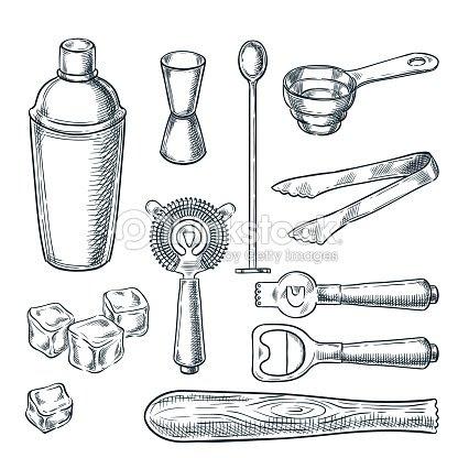 ツールと機器ベクター スケッチ イラスト カクテルバー手描きアイコンと