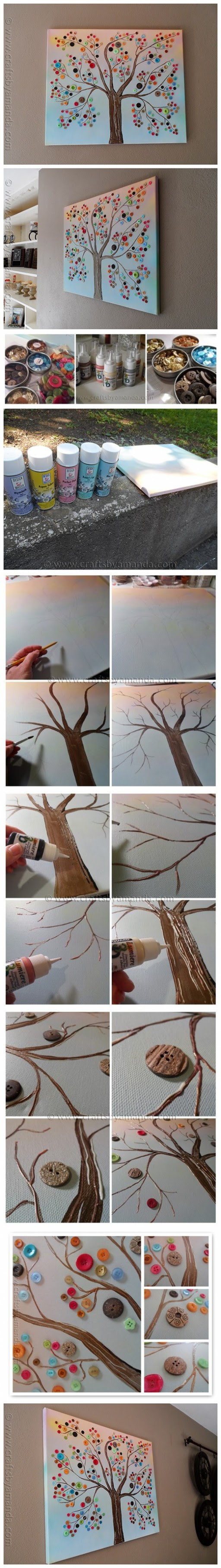 How to make vibrant DIY button tree canvas wall art step by step tutorial instructions