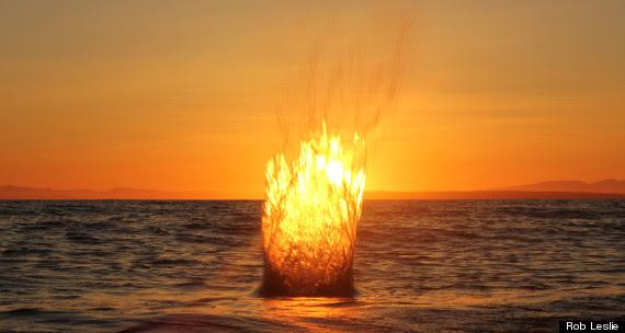 fire splash sunset white rock