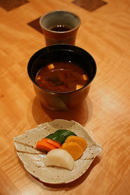 Top to bottom: houji-cha, red miso soup and pickles