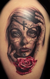 Remarkable Swirly Cross Tattooed Girl Face With Red Rose Tattoo