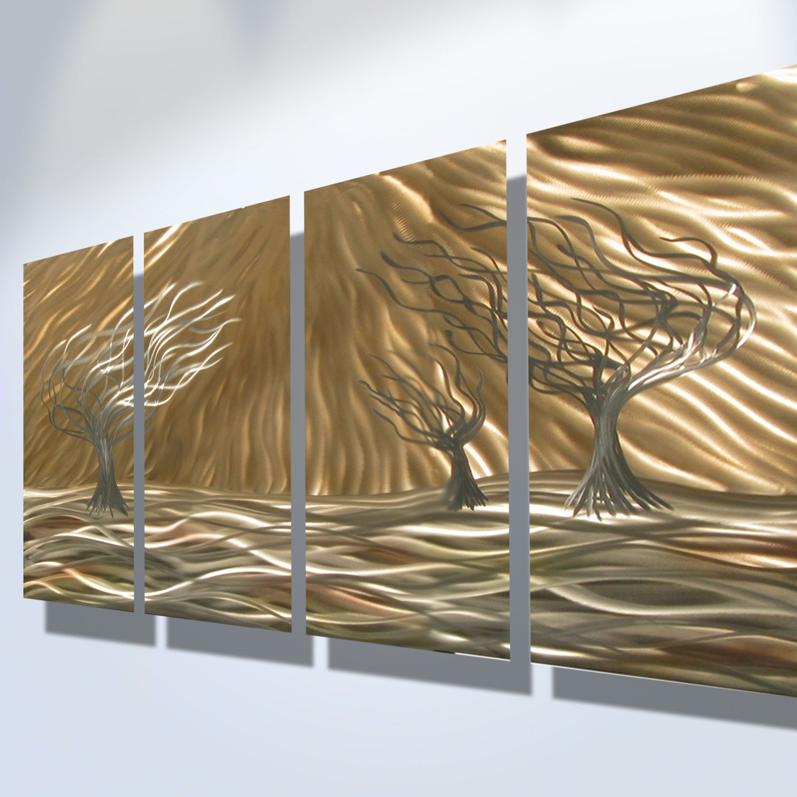 3 Trees 4 Panel - Abstract Metal Wall Art Contemporary ...