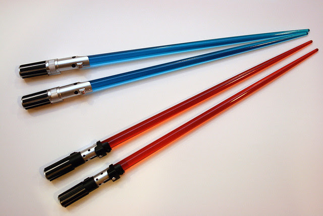 Luke and Vader light saber chopsticks
