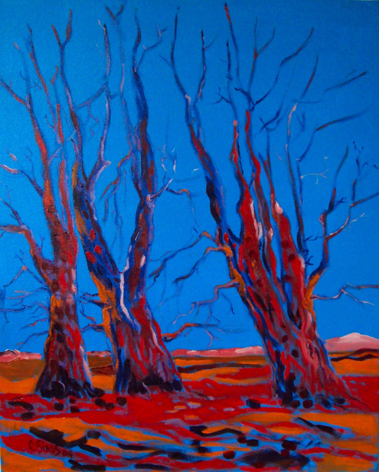 Red Trees with Blue Sky / Expressionism / Oil Painting on Canvas - SingingTrees