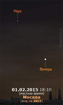 Венера и Марс на вечернем небе Москвы 1 февраля 2015 г.