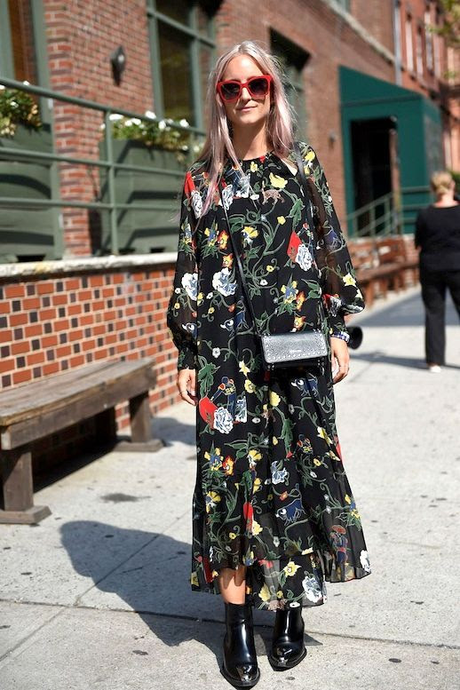 Le Fashion Blog Blogger Style Blonde Long Hair Red Sunglasses Long Floral Print Maxi Dress Crossbody Bag Black Leather Boots Via British Vogue