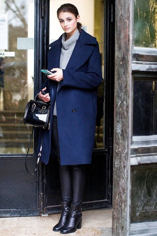Le Fashion Blog Winter Street Style Taylor Marie Hill Long Blue Coat Funnel Neck Sweater Waxed Skinny Jeans Black Leather Ankle Boots Via Vogue