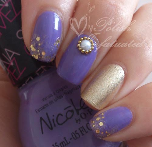 simple purple & gold skittle
