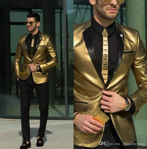2018 New Shining Gold Wedding Suits For Men Cheap Tuxedos