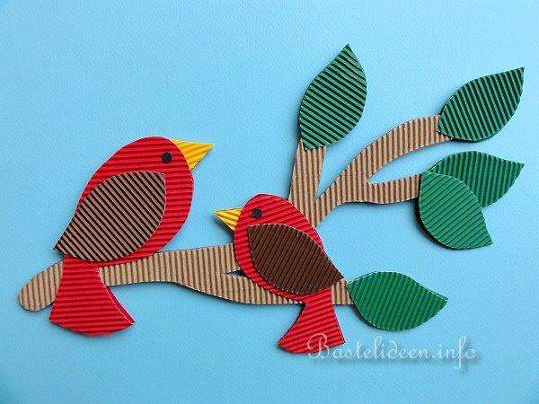 Fensterbild - Vögel auf einem Ast
