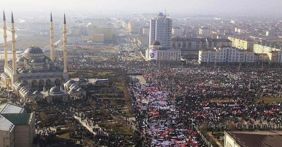 Manifestación contra las caricaturas de Mahoma