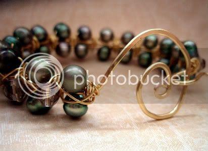 Golden Olive Wire Bracelet by Ocean Pearl Jewellery