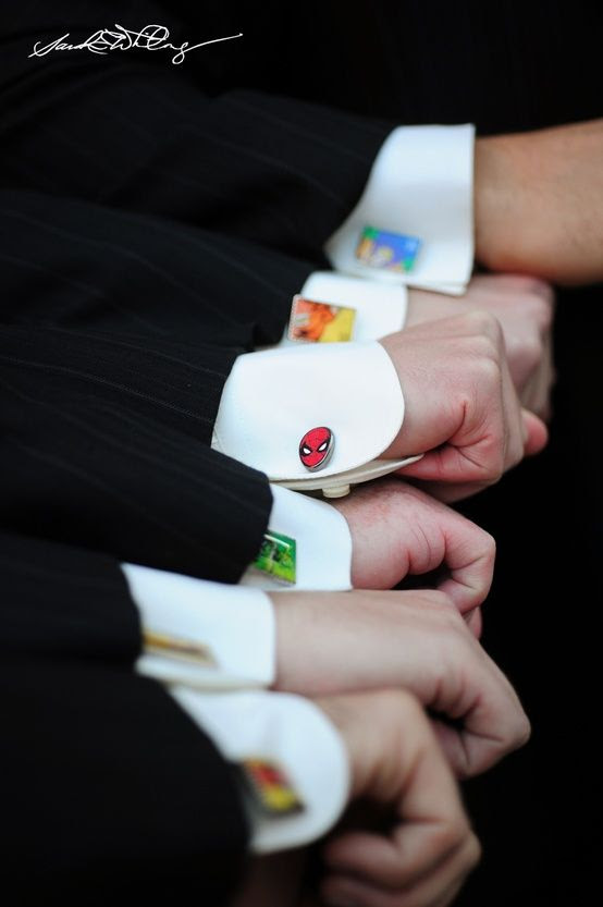 groomsmen cool gift: Custom superhero cufflinks!