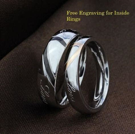 Free Engraving Heart Shape Stainless Steel 2 Pcs Couples