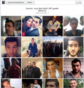 """""""Smile, you're caught! JRF watches!"""" says the caption on a French Facebook page that identified 32 Jews to be targeted for violence. Photo: Screenshot / Facebook."""