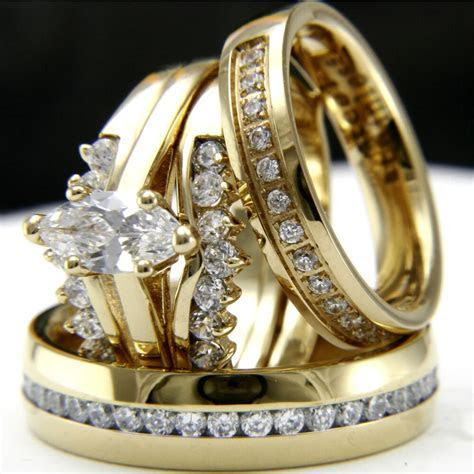 Gold tone 0.9Ct CZ solitaire engagement woman's wedding