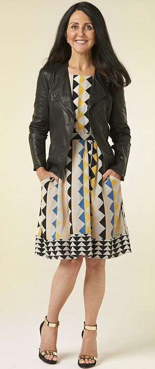 Patterned dress, £89, Collection by John Lewis. Leather jacket, £299, Kin. Black and gold sandals, £130, Carvela
