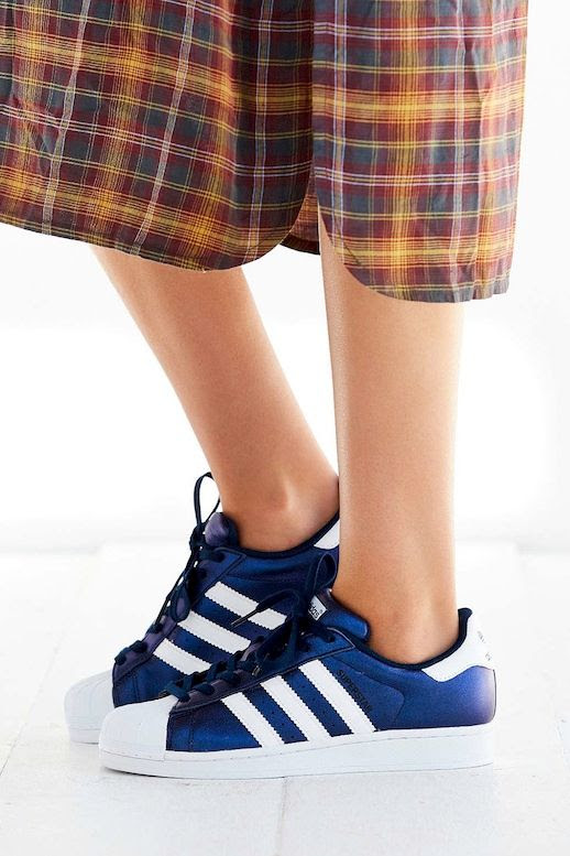 Le Fashion Blog Fall Style Long Plaid Dress Dark Metallic Blue Adidas Shoes Via UO